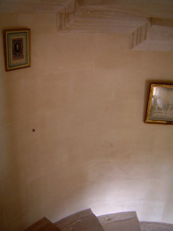 Fausse pierre sur les murs de l escalier d un ch teau class d cor en appareillage de pierres for Peintre decorateur