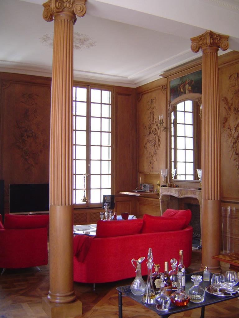 colonnes en faux bois peintres d corateurspeintres. Black Bedroom Furniture Sets. Home Design Ideas