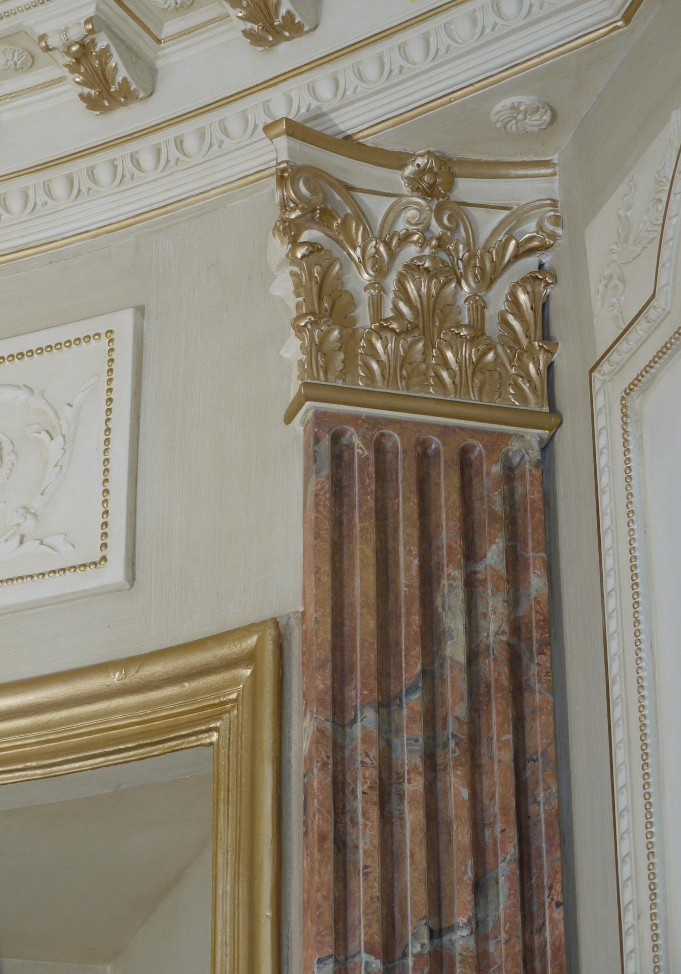 imitation de marbre patines et dorures d tail d 39 un pilastre cannel peintres. Black Bedroom Furniture Sets. Home Design Ideas