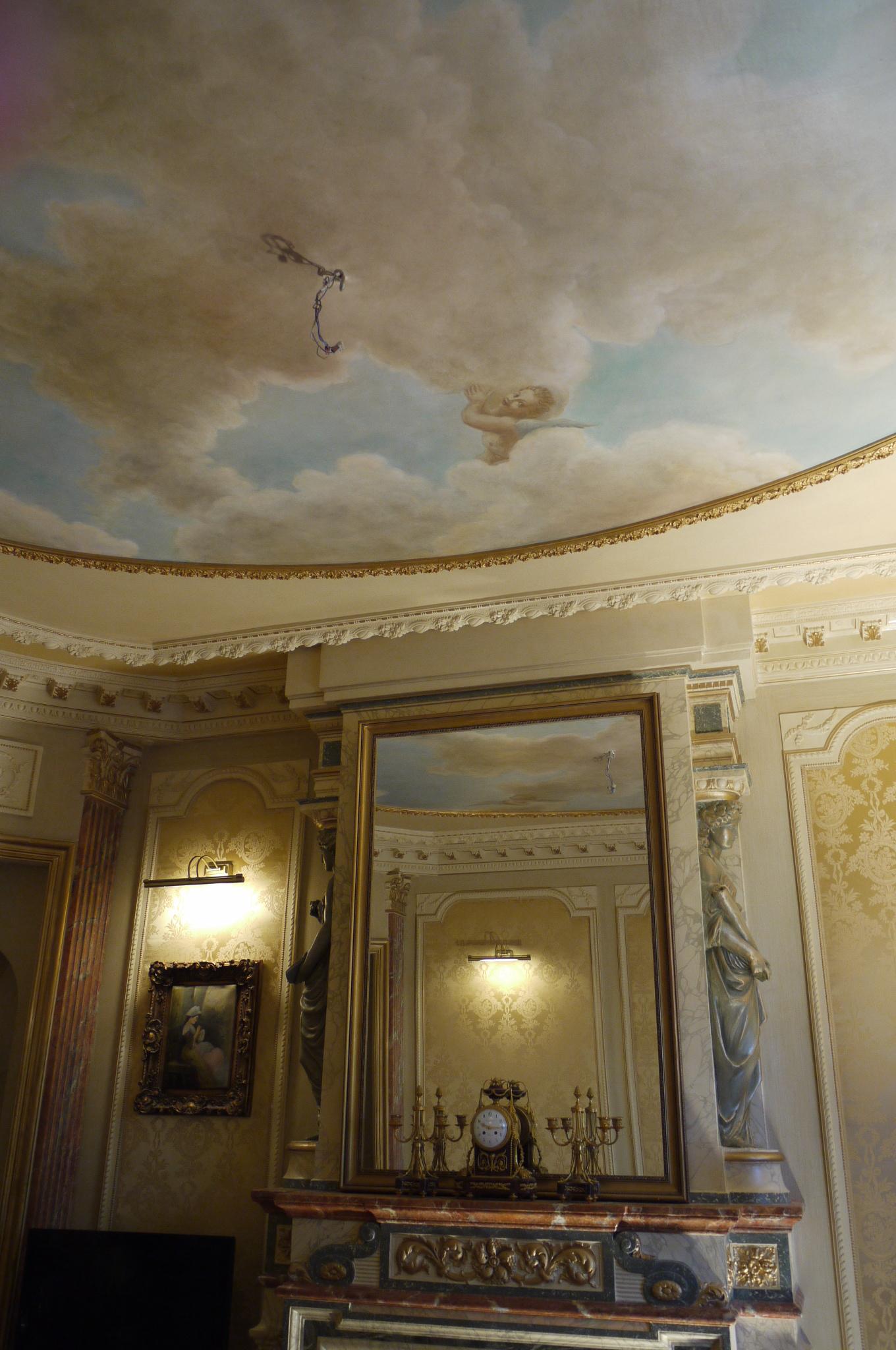 Trompe l il faux ciel baroque en technique l huile - Trompe l oeil chambre ...
