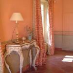 Patines : Dans un mas provençal, trompe l'oeil, frise de motifs végétaux et fausses moulures.